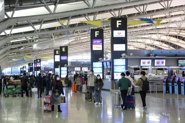 Ilustrasi bandara di Osaka, Jepang.