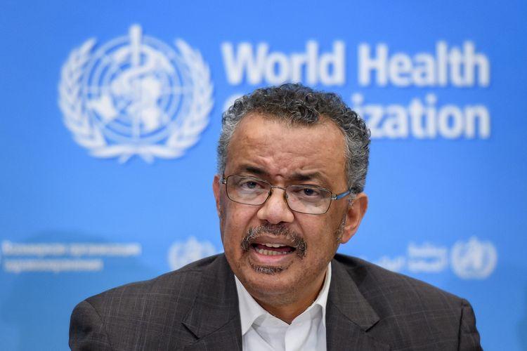 Sekretaris Jenderal Badan Kesehatan Dunia (WHO) Dr Tedros Adhanom Ghebreyesus dalam konferensi pers di Jenewa pada 30 Januari 2020. Tedros mengumumkan status darurat dunia atas virus corona yang hingga saat ini, sudah membunuh 212 orang di China.