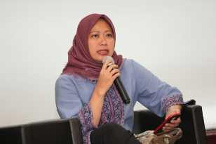 Direktur Utama Perum Produksi Film Negara (PFN) Shelvy Arifin di kantor Kementerian BUMN, Jakarta, Jumat (22/1/2016). PFN tengah mempersiapkan Unyil Reborn, yang ditargetkan rilis Juli 2016.