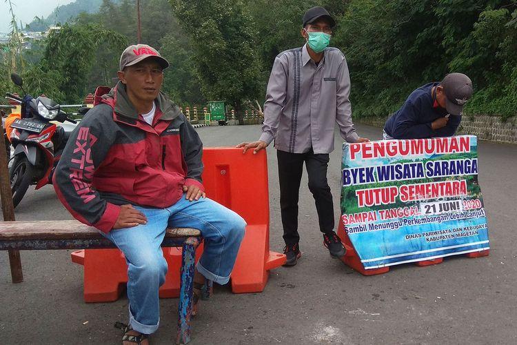 Pemerintah KabupatenMagetan menutup sementara  destinasi wisata Sarangan karena salah satu warga dinyatakan positif covid 19.