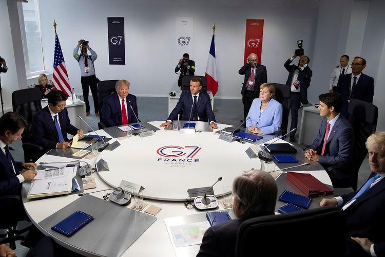 Para pemimpin negara-negara anggota G7 saat pertemuan tingkat kerja di Biarritz, Perancis, Senin (26/8/2019).