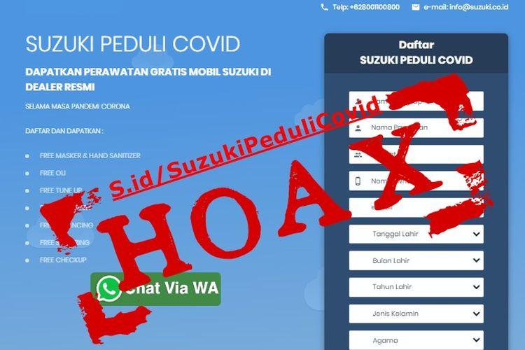 Hoaks Suzuki Peduli Covid tawarkan servis gratis