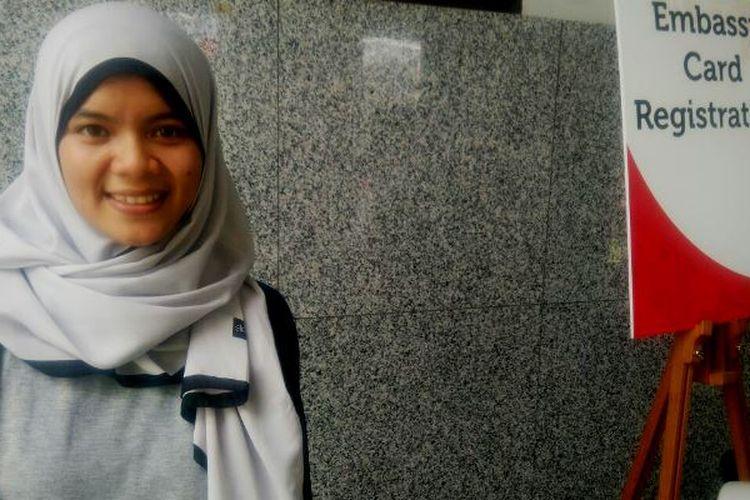 Reni Haryati (23), PRT Indonesia di Singapura yang kini menjadi mahasiswi Universitas Terbuka.