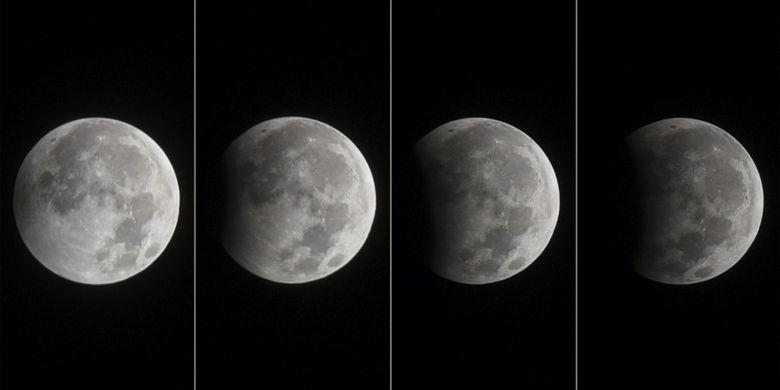 Foto kolase proses gerhana bulan parsial terlihat di kawasan Tugu Pahlawan, Surabaya, Jawa Timur, Selasa (8/8/2017). Fase gerhana bulan parsial berlangsung selama 1 jam 56,6 menit, dari pukul 00.22 WIB hingga 2.18 WIB.