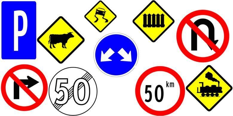 Coba jelaskan arti masing-masing rambu lalu lintas ini.