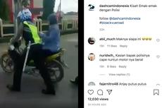 Emak-emak Ditilang, Ogah Turun dari Motor Hingga Didorong Polisi