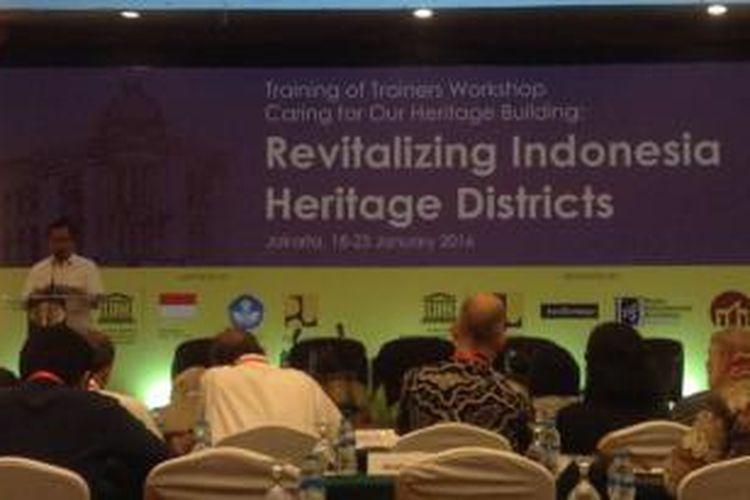 Pelatihan pelestarian cagar budaya di Jakarta, Senin (18/1/2016).