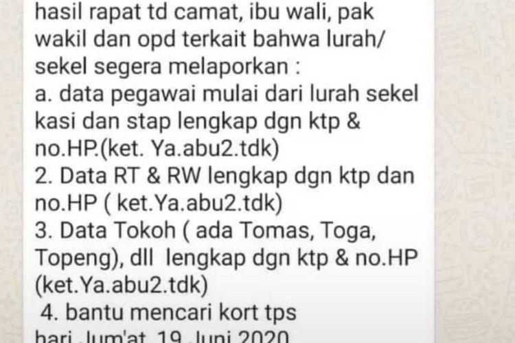 Sebuah pesan singkat yang berisi perintah terhadap Lurah di Tangerang Selatan untuk meminta data diri jajarannya hingga ketingkat ketua RT, viral melalui whatsapp, Kamis (18/6/2020).