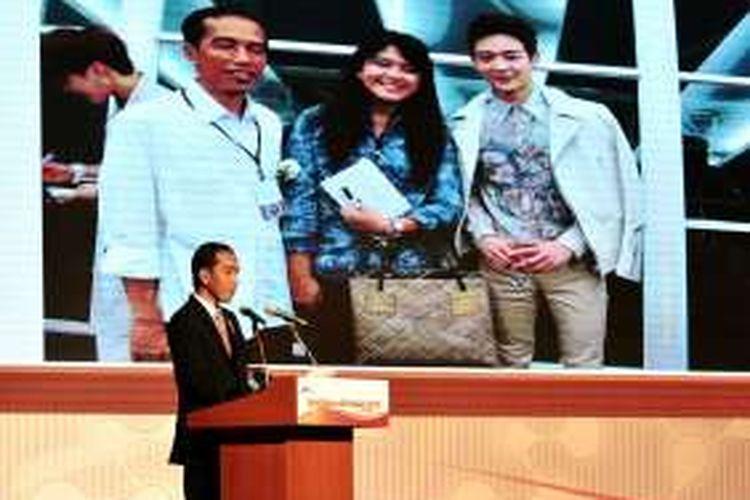 Presiden Joko Widodo saat menjadi pembicara kunci di acara