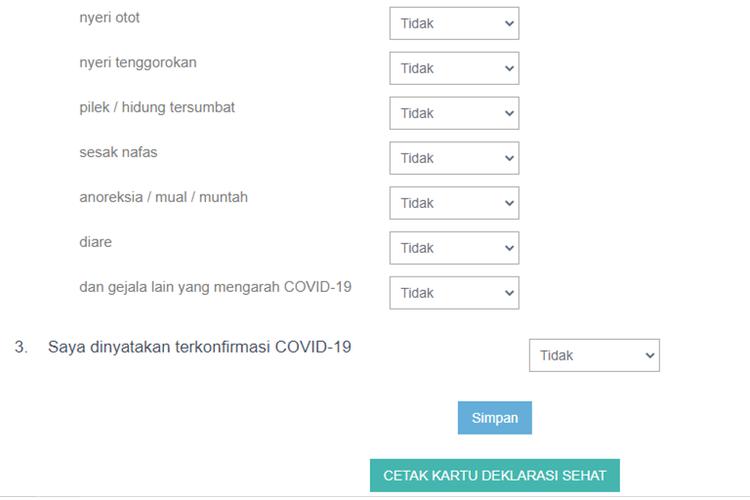 Tangkapan layar formulir isian deklarasi sehat pada laman SSCASN.