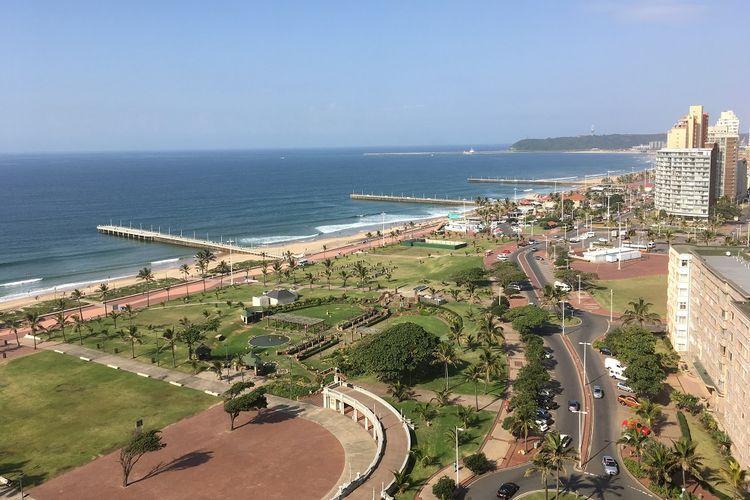 Kawasan pantai Utara Durban dari ketinggian. Gambar diambil pada Senin (5/6/2017)