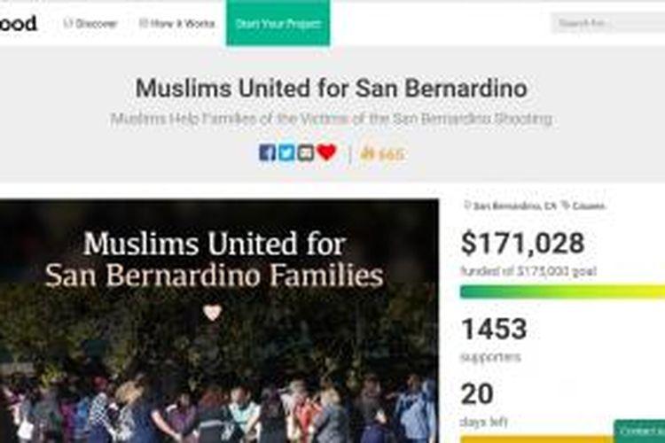 situs penggalangan dana sumbangan untuk keluarga korban penembakan San Bernardino, California.
