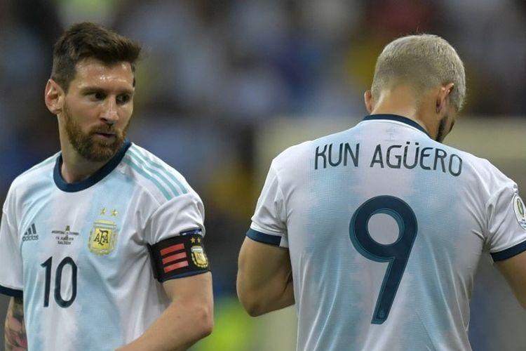 Lionel Messi dan Sergio Aguero tengah bersiap jelang laga Argentina vs Kolombia pada ajang Copa America 2019 di Fonte Nova Arena, Salvador, Brasil, 15 Juni 2019.
