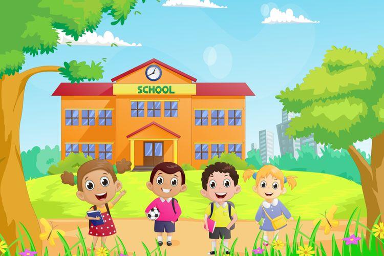 Ilustrasi anak sekolah dan gedung sekolah. Sekolah adalah lembaga sosial lembaga pendidikan.