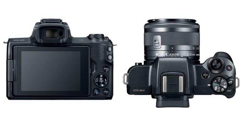 Tampak belakang dan atas dari Canon EOS M50 warna hitam.