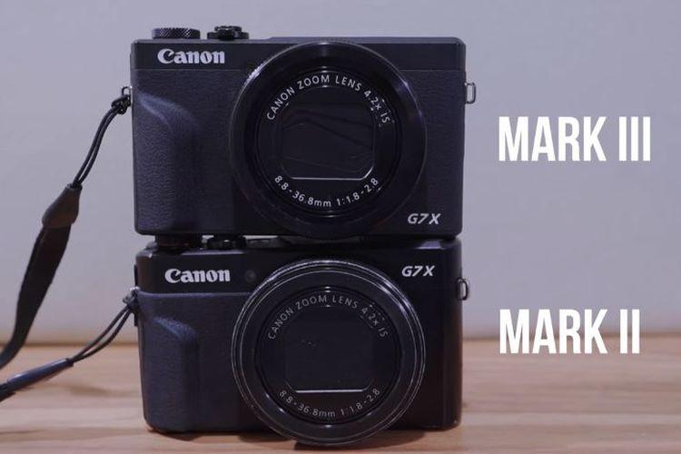 Perbandingan kamera Canon Powershot G7x Mark III dan Mark II.