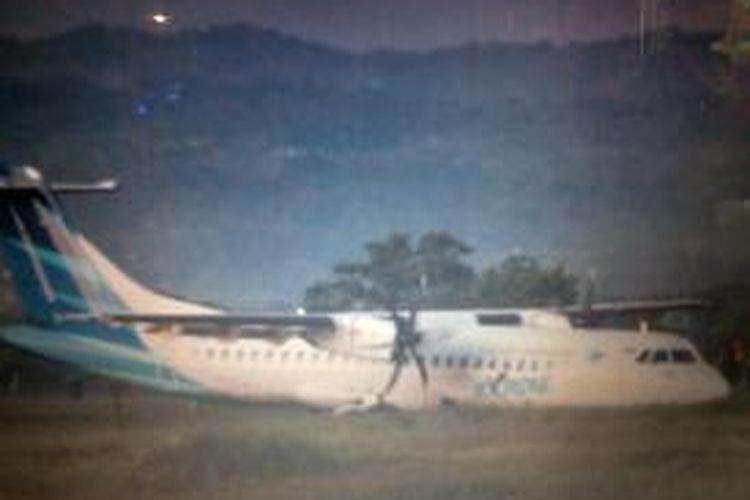 Pesawat Garuda Indonesia yang Tergelincir di Bandara Internasional Lombok