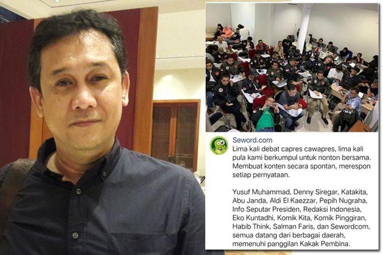 Denny Siregar (kiri) dan foto para pegiat media sosial yang diunggah seword.