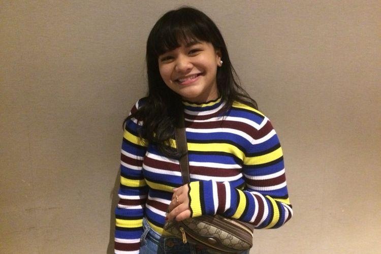 Amel Carla saat menghadiri pemutaran film perdana Ant-Man and the Wasp di Kota Kasablanka, Jakarta Selatan, Selasa malam (4/7/2018).