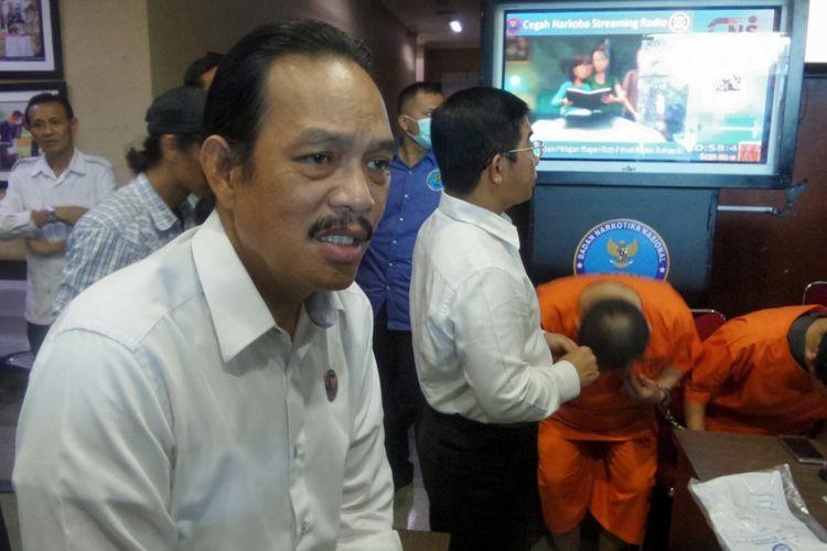 Deputi Pemberantasan Badan Narkotika Nasional (BNN) Arman Depari saat memberikan keterangan di kantor pusat BNN, Cawang, Jakarta Timur, Senin (22/5/2017).