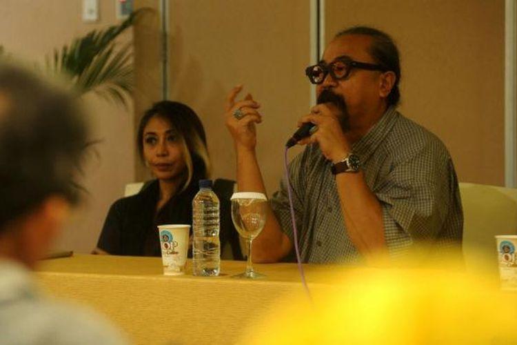 Djaduk Ferianto dan Trie Utami saat jumpa pers penyelangaraan Ngayogjazz ke 9 dengan tema Bhineka Tunggal Jazznya