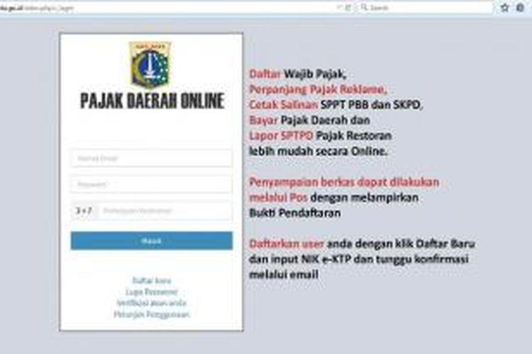 Para wajib pajak cukup membuka situs pajak online yang bisa diakses di pajakonline.jakarta.go.id dan mendaftar.