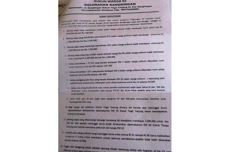 Tangkapan layar dari surat edaran viral mengenai iuran bagi warga non pribumi.