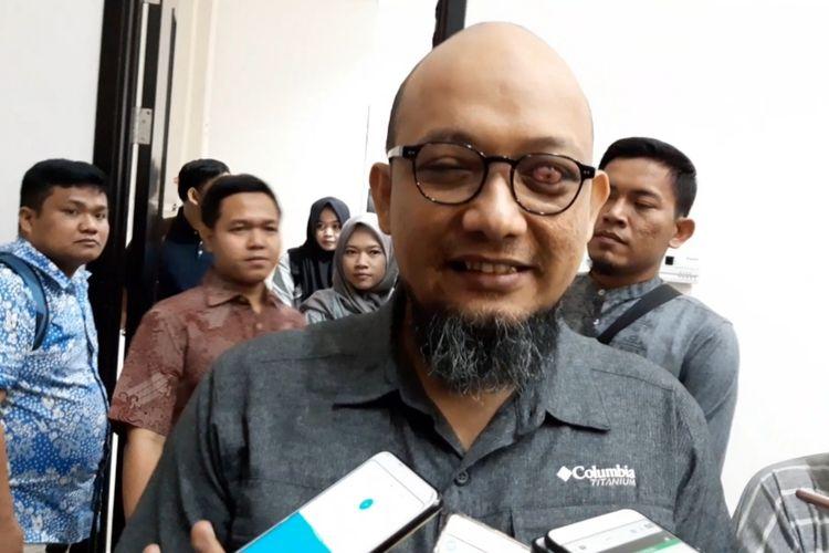 Penyidik senior KPK Novel Baswedan di Kantor Dinas Pendidikan DKI Jakarta, Sabtu (9/11/2019).
