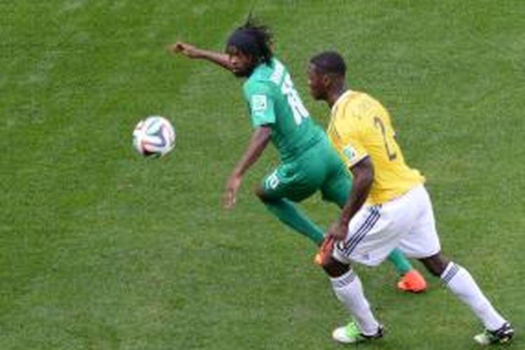 Penampilan gelandang Pantai Gading, Gervinho, saat melawan Kolombia, Kamis (19/6/2014).