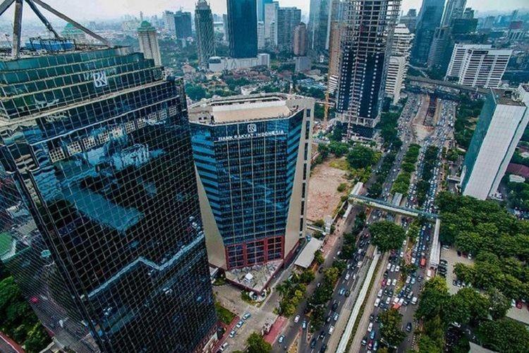 Ilustrasi Menara Bank Rakyat Indonesia (BRI) Gatot Subroto di Menteng Dalam, Tebet, Jakarta Selatan