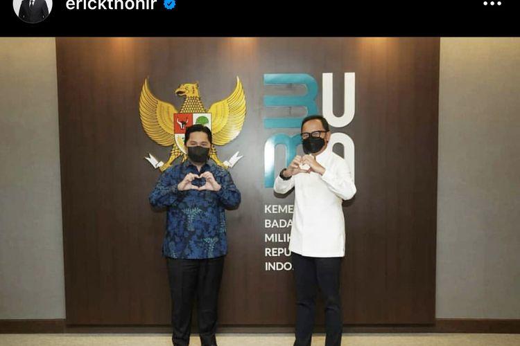 Tangkapan layar dari akun Instagram Menteri BUMN Erick Thohir saat bertemu dengan Wali Kota Bogor Bima Arya, Minggu (25/4/2021).
