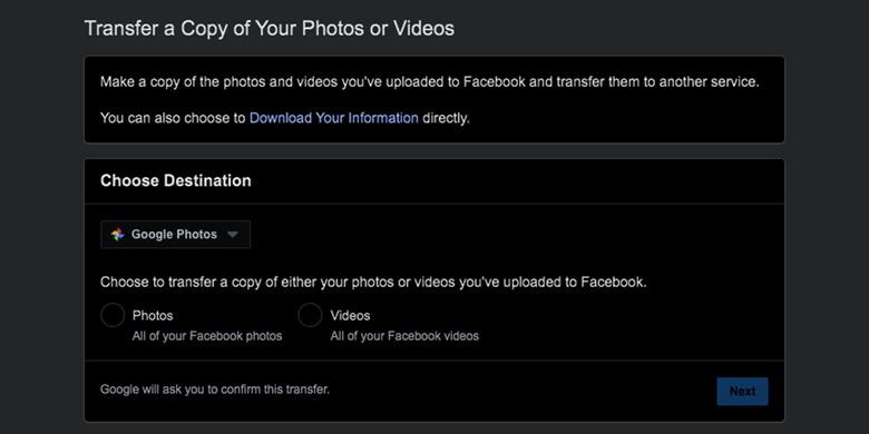 Tool untuk memindahkan foto dan video ke layanan Google Photos dari Facebook.