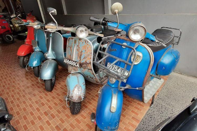 Deretan Vespa klasik yang akan direstorasi di Jaduls Scooter Garage.