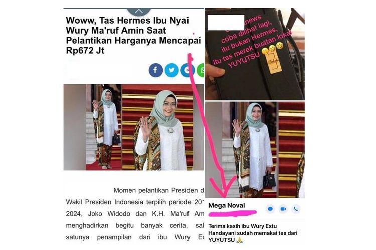 Foto tangkapan layar yang beredar menyebutkan tas yang digunakan Wuri Esti Handayani adalah tas bermerek dengan harga Rp 672 juta. Ternyata, tas yang digunakan adalah produk lokal.