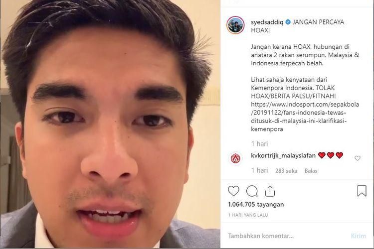Menteri Sukan dan Belia Malaysia Syedd Saddiq saat menyampaikan responnya yang pertama terkait video pemukulan.