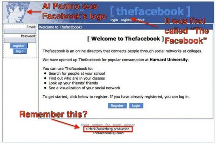 Tampilan awal Facebook menggunakan wajah aktor Al Pacino sebagai logonya.