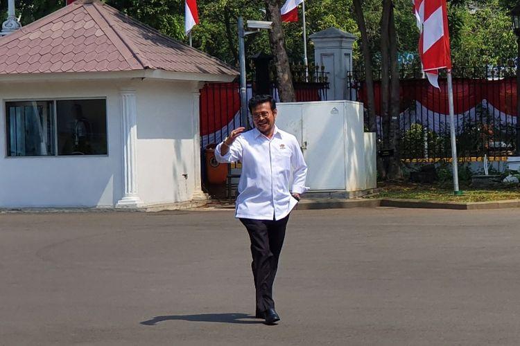 Mantan Gubernur Sulawesi Selatan dua periode Syahrul Yasin Limpo menyambangi Istana Kepresidenan, Jakarta, Selasa (22/10/2019).