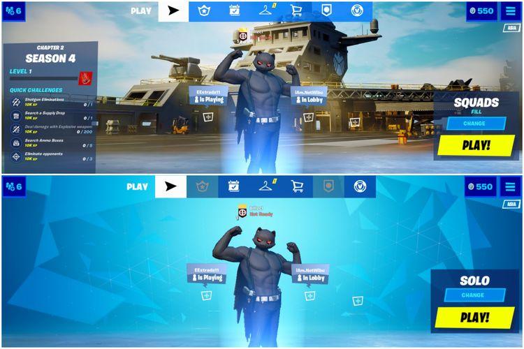 Ilustrasi game client Fortnite Android/iOS versi 14.00 (atas) dan versi 13.40 (bawah).