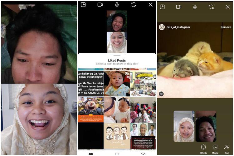 Instagram menambahkan fitur videocall yang mampu berbagi postingan feed yang telah disimpan pengguna, postingan yang disukai dan menunjukkan video tersebut kepada partner videocall