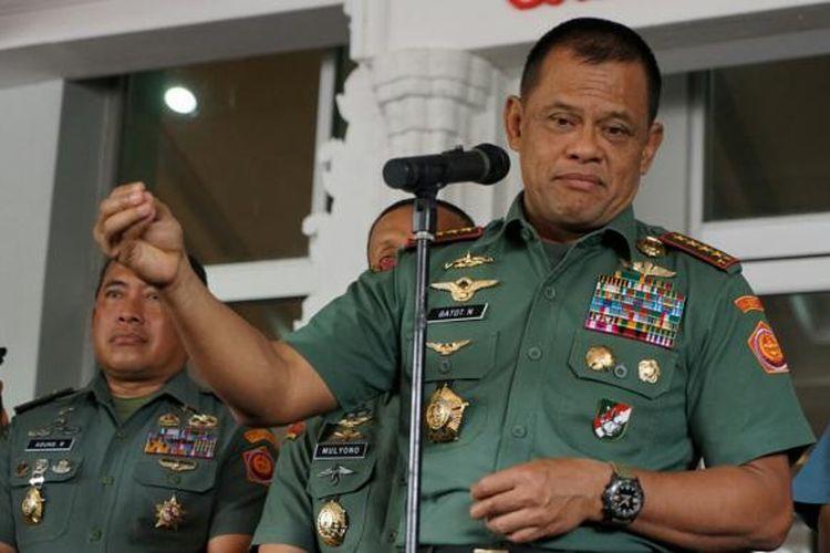 Panglima TNI Jenderal Gatot Nurmantyo saat ditemui di Mabes TNI, Cilangkap, Jakarta Timur, Rabu (11/1/2017).