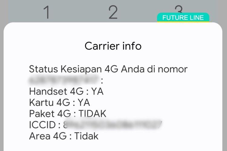 Informasi nomor XL melalui menu USSD *123# di ponsel.