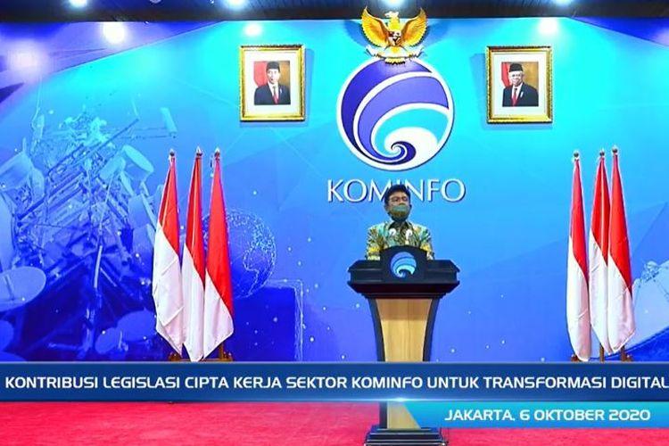 Menteri Komunikasi dan Informatika (Menkominfo) Johnny G. Plate, dalam konferensi pers virtual yang digelar Selasa (6/10/2020).
