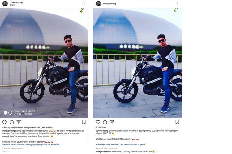 Foto yang diklaim hasil jepretan Pocophone di akun Instagram Donovan Sung (kanan) dan foto sebelumnya yang diketahui berasal dari Mi Mix 2S.