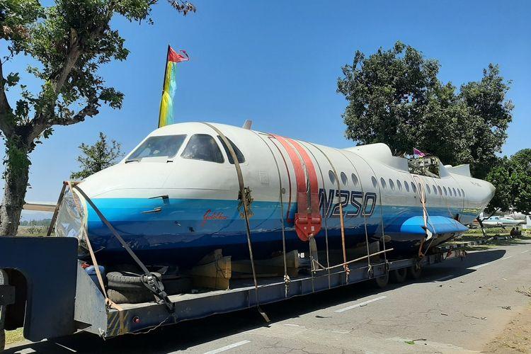 Pesawat pertama buatan Indonesia, N-250 Gatotkaca saat tiba di Museum Pusat TNI-AU Dirgantara Mandala Yogyakarta