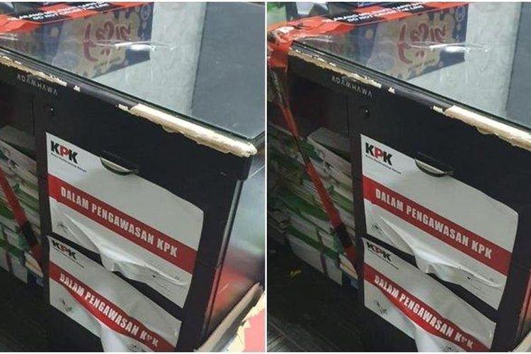 Kotak berisi berkas yang dihimpun dan disegel petugas KPK di ruang perbendaharaan BPKAD Kutai Timur.