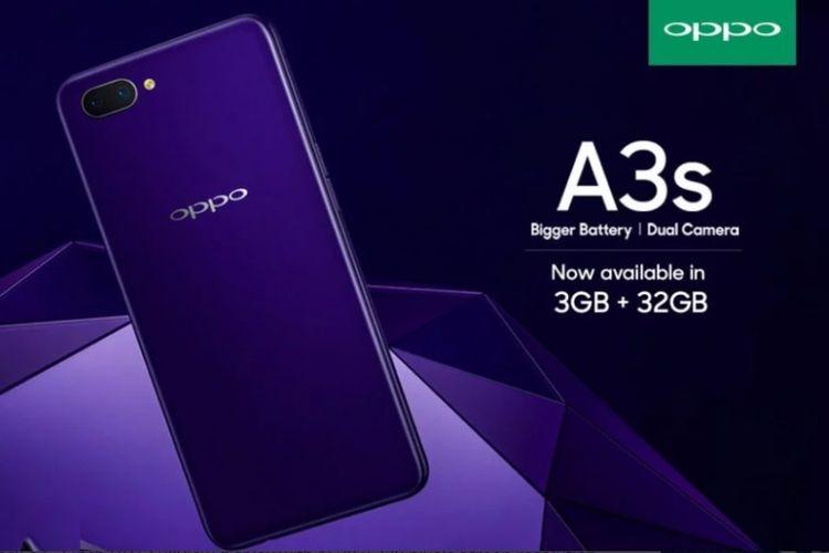 Oppo A3S hadir dengan RAM 3GB dan penyimpanan 32GB.