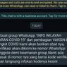 [HOAKS] Informasi Grup Whatsapp untuk Wilayah Covid-19 dan Pembagian Vaksin