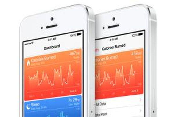 Ilustrasi aplikasi Health pada iPhone