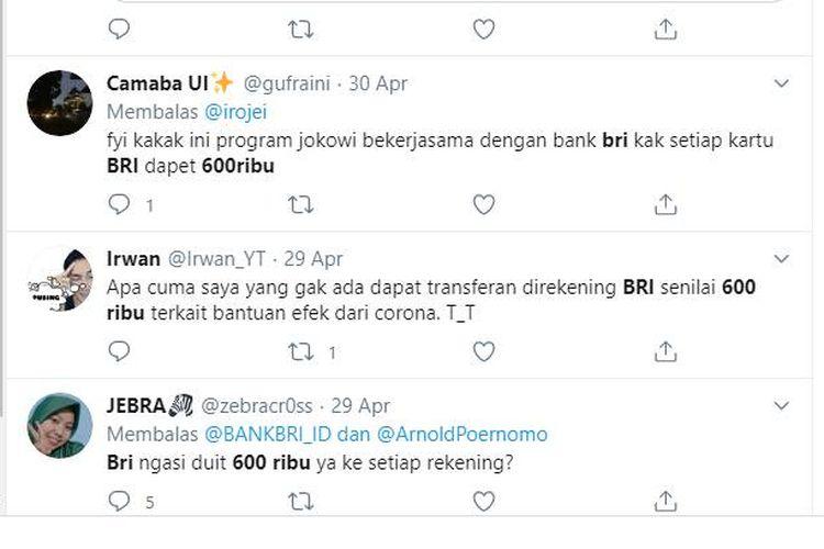 Tangkapan layar Twitter soal ramainya uang Rp 600 di BRI
