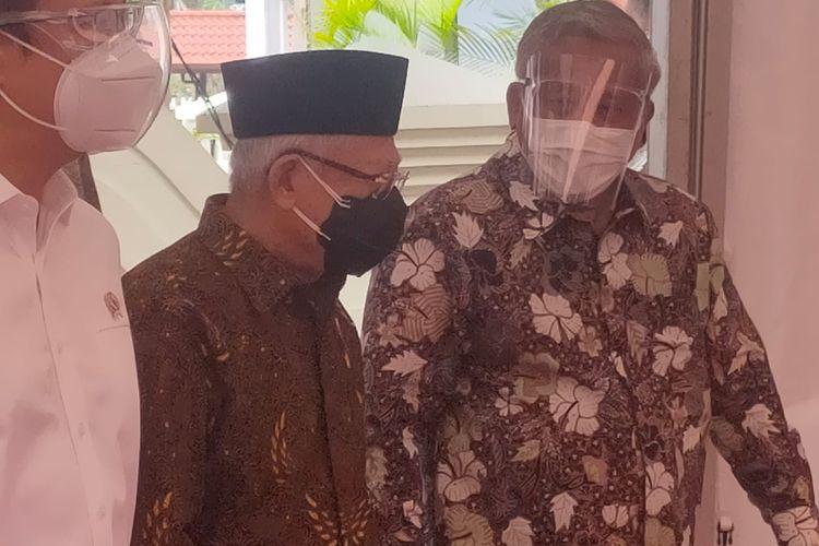 Wakil Presiden Ma'ruf Amin saat tiba di lokasi vaksinasi Covid-19 di Bentara Budaya Jakarta, Kamis (23/9/2021).